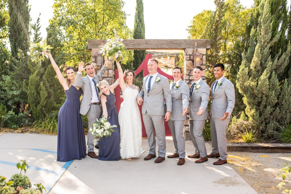 grey and navy blue wedding party