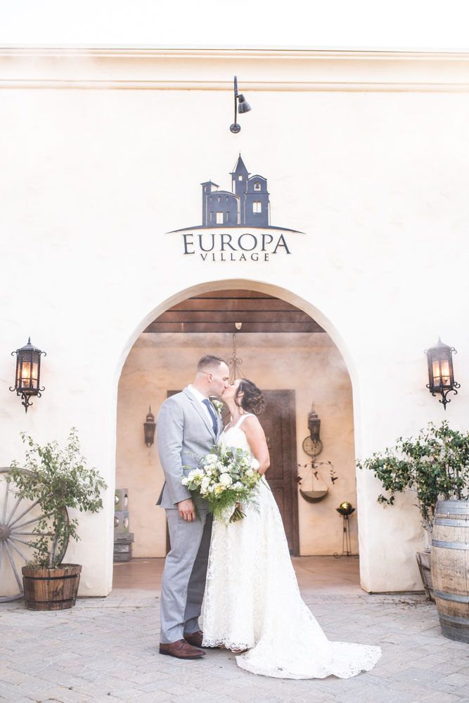 bride and groom Europa Village Temecula winery wedding