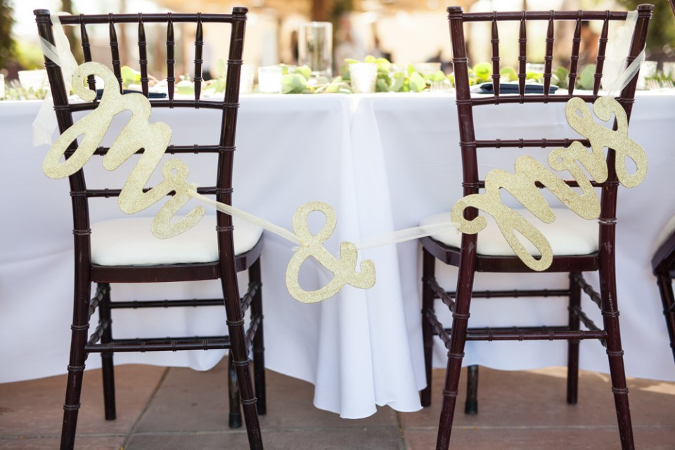 mr. and mrs. chair banner for temecula winery wedding