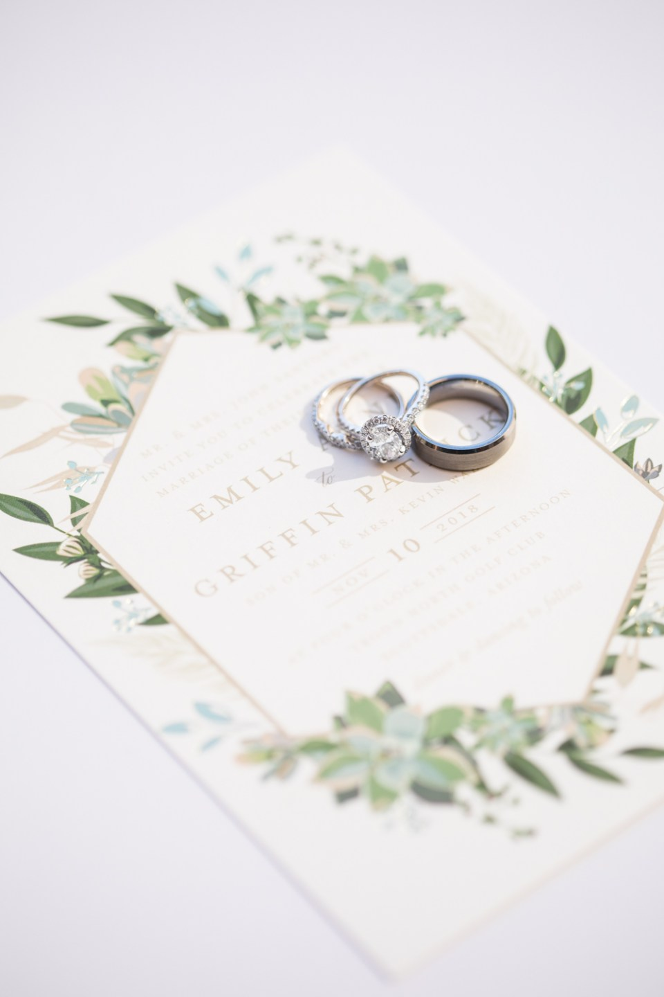 minted wedding invitation ring shot