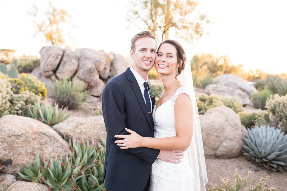 troon north wedding bride and groom desert wedding