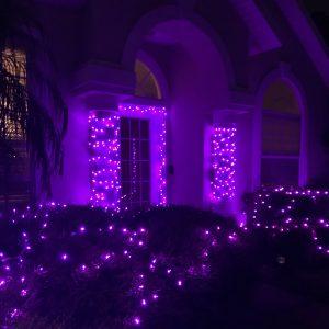 Christmas lights on pillars