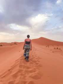 Walking up the vibrant dunes