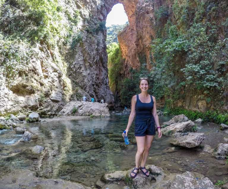 In front of the amazing rock bridge