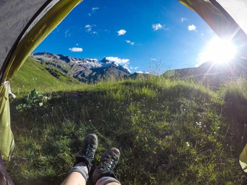 Enjoying the view from my tent on the Tour du Mont Blanc