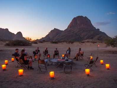 A particularly glamorous meal in Spitzkoppe