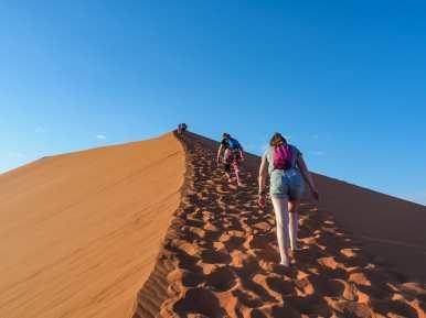 The trek up Dune 45 begins