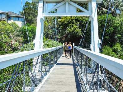 The suspension bridge across Parsley Bay