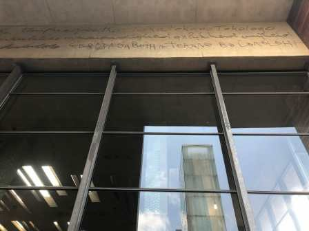 """""""Dignity, equality, and freedom"""" scrawled into the cement by the original justices of the Court"""