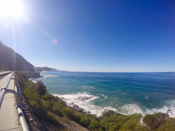Walking along Sea Cliff Bridge