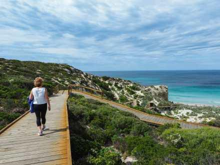 Mum strolling along the Seal Bay boardwalks