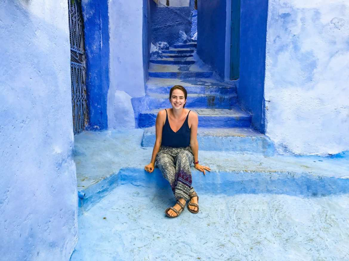 Blue walls and stairs in Chefchaoeun Morocco