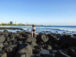 Jumping around on the Burleigh Beach rocks