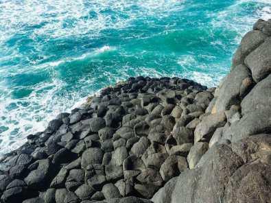 Looking down at the basalt columns below