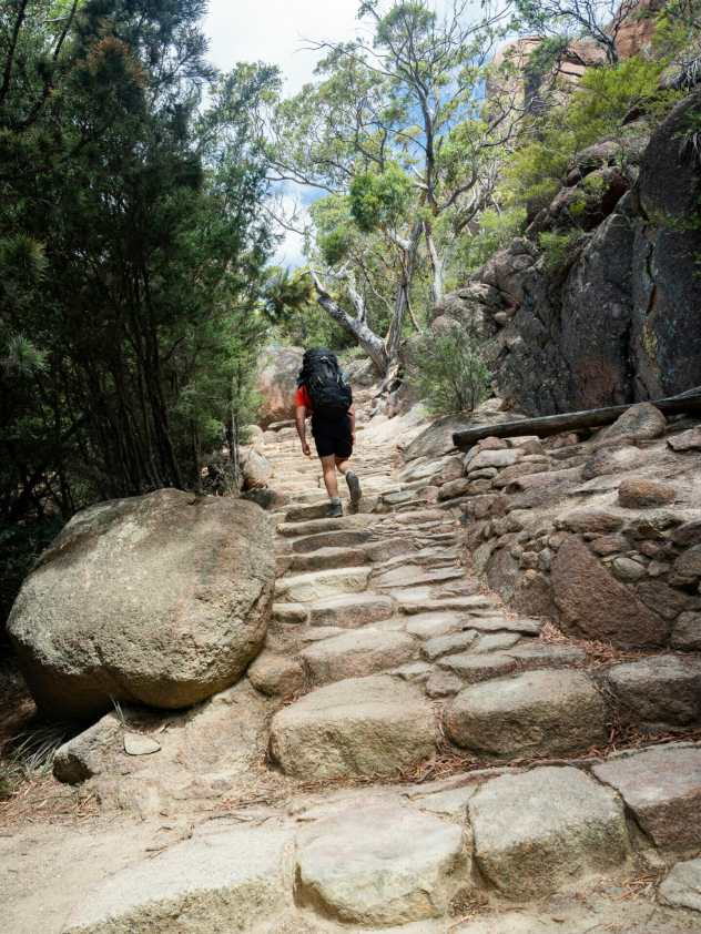 The climb to Wineglass Bay lookout