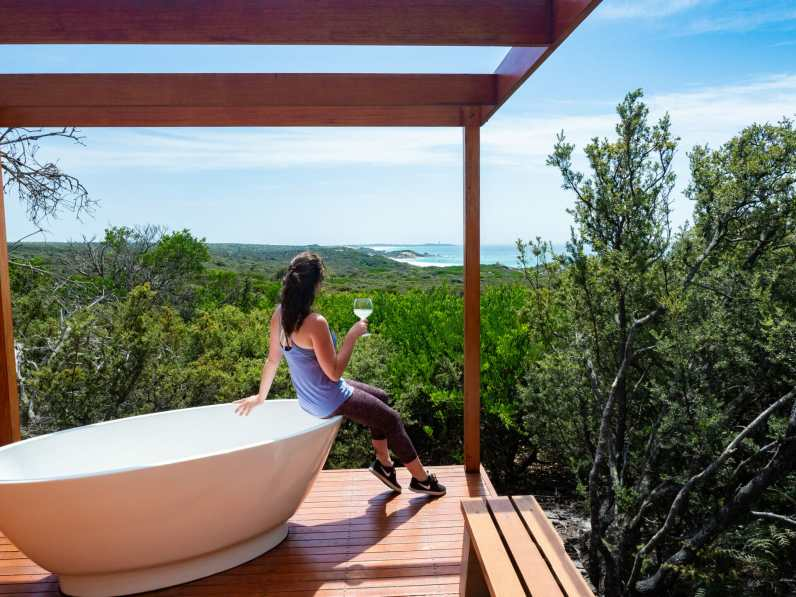 Enjoying the view at the Bay of Fires Lodge