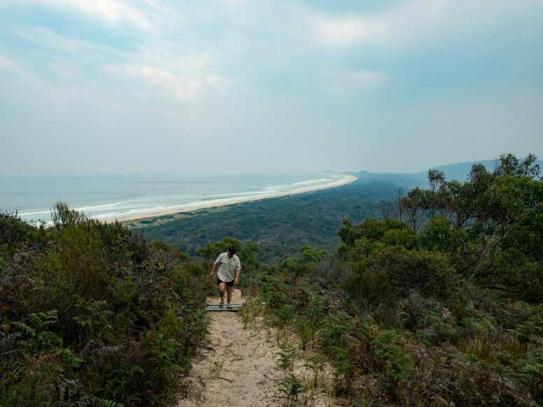 Cal hiking up Mars Bluff
