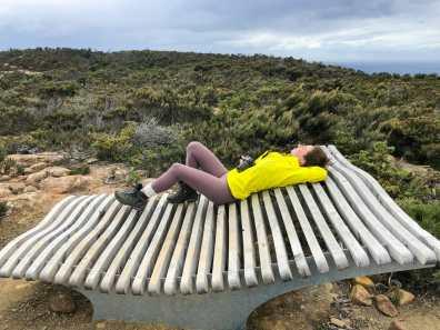 Enjoying a quick rest on the Windy Ridge storyseat
