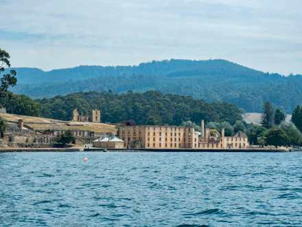 Looking back on Port Arthur Historic Site from the boat
