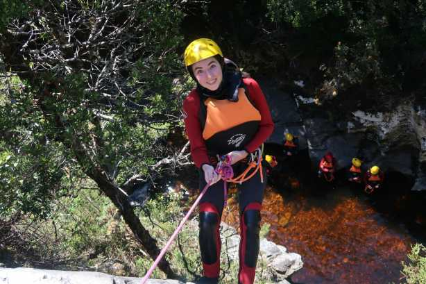 Rappelling into Dove Canyon