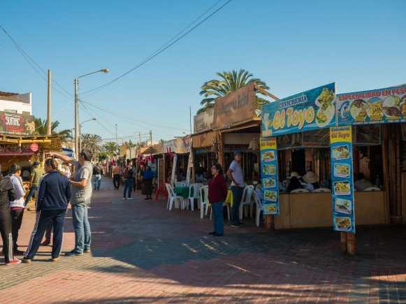 Restaurants lining the beach in Paracas