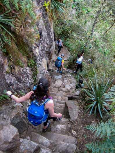 Descending Huayna Picchu