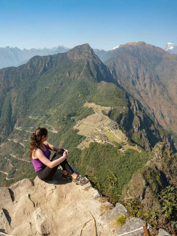 The top of Huayna Picchu, looking out over Machu Picchu