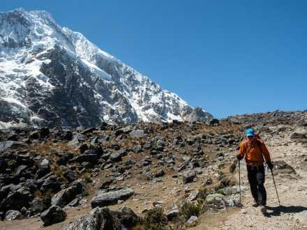 Dad leaving Salkantay Pass behind