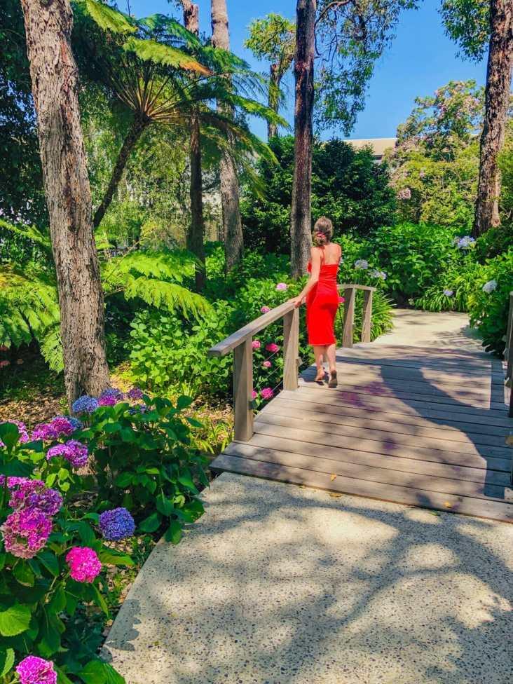 Girl standing in garden Aravina Wines Margaret River