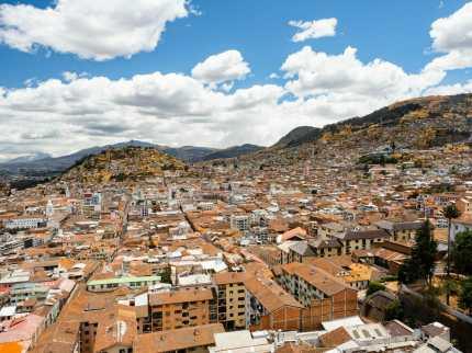 View from Basilica del Voto Nacional church in Quito