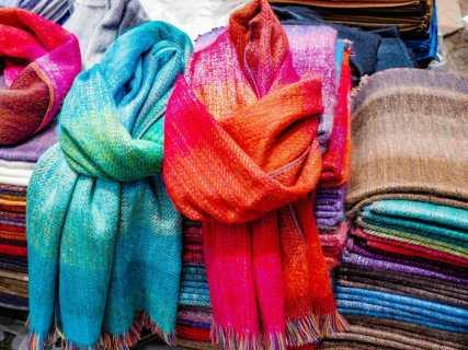 Colourful scarves at Otavalo Market in Ecuador