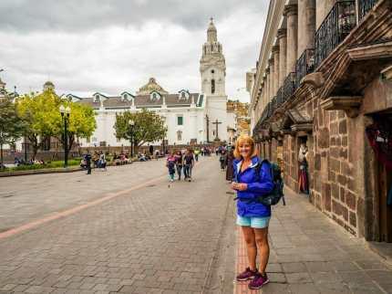 Woman in Plaza Grande Quito