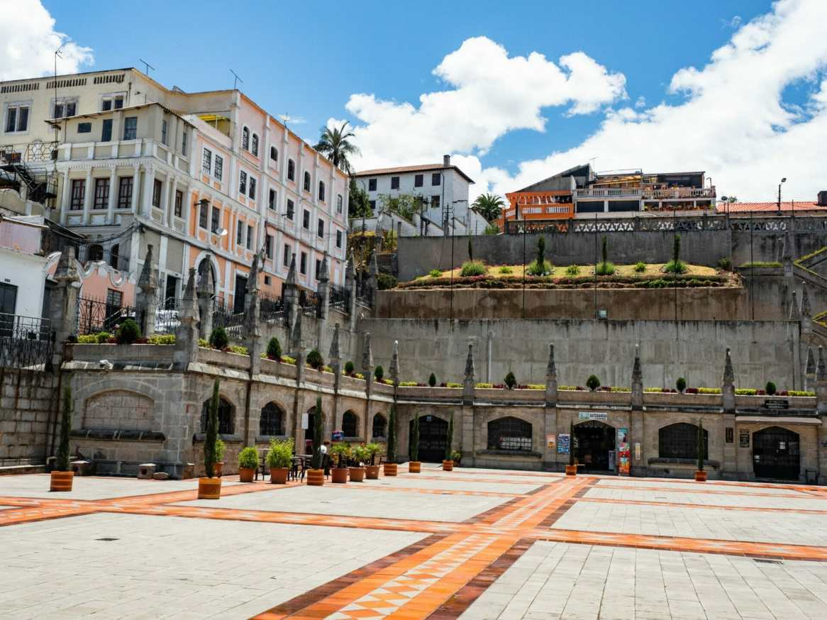 Colourful courtyard at Basílica del Voto Nacional church in Quito