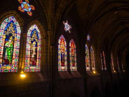 Stained glass inside Basílica del Voto Nacional church Quito