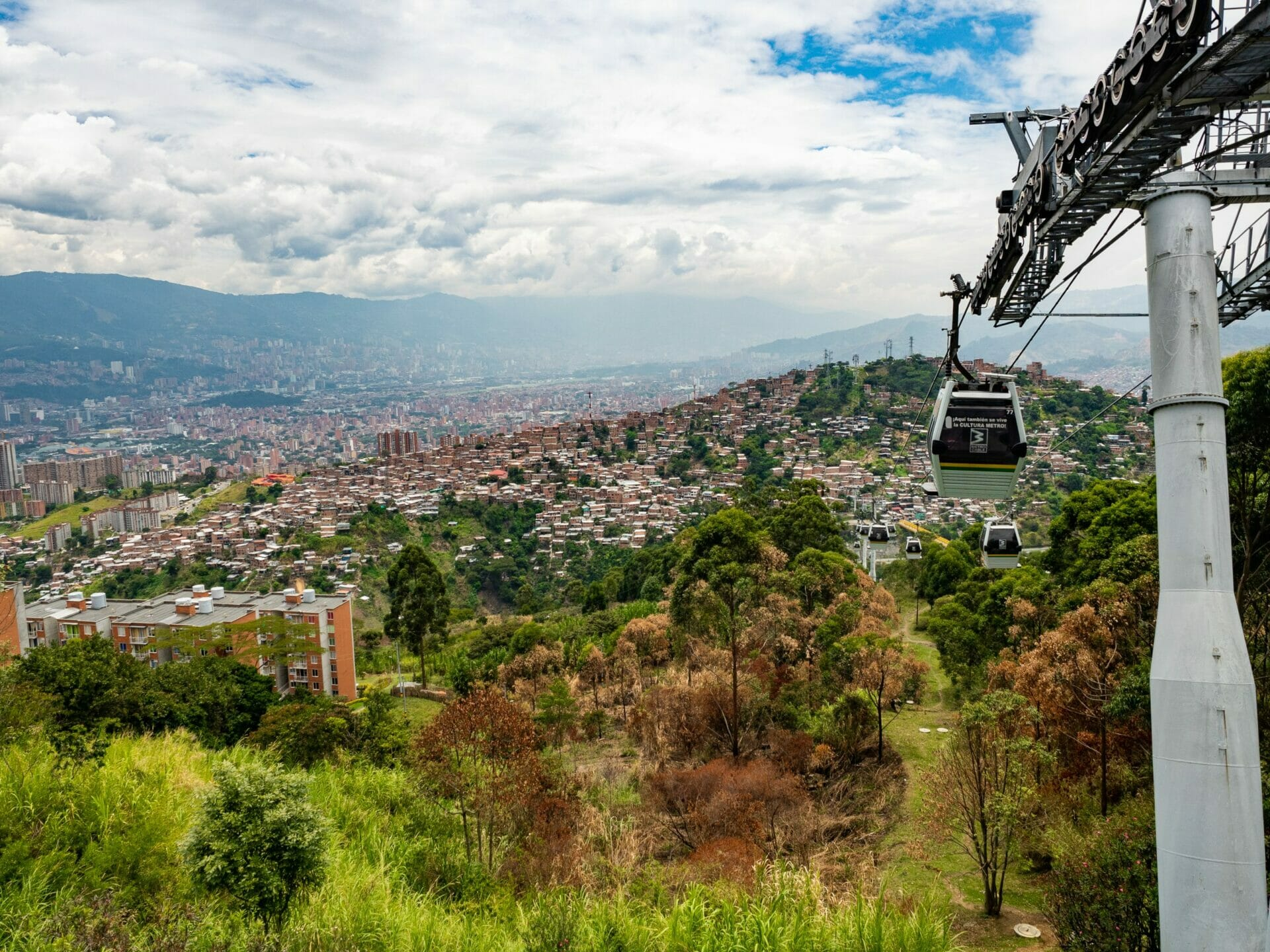 View from Medellín Metrocable cable car