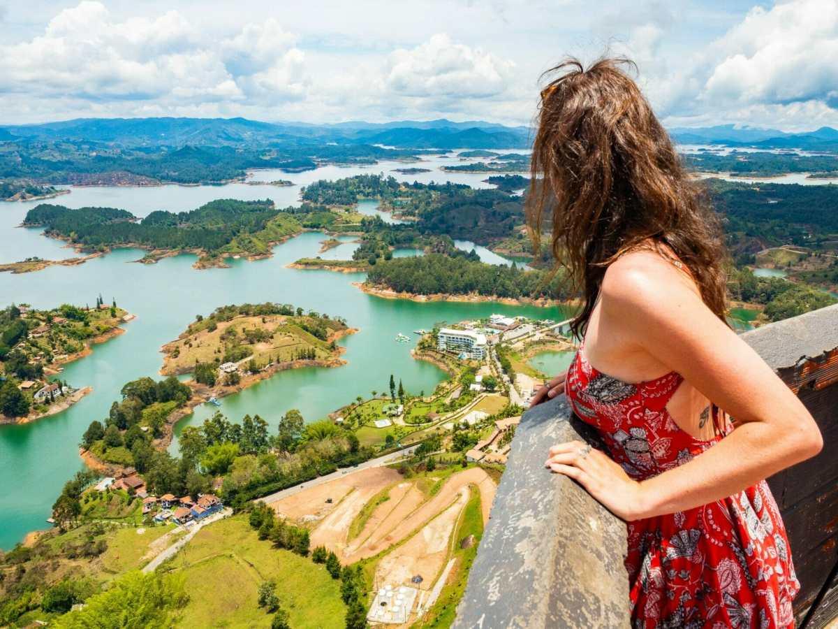 Girl on El Peñol Rock Guatapé Colombia