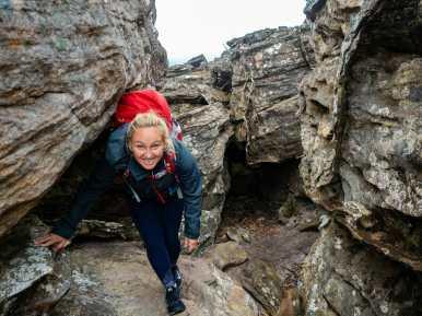 Crawling and scrambling along the trail