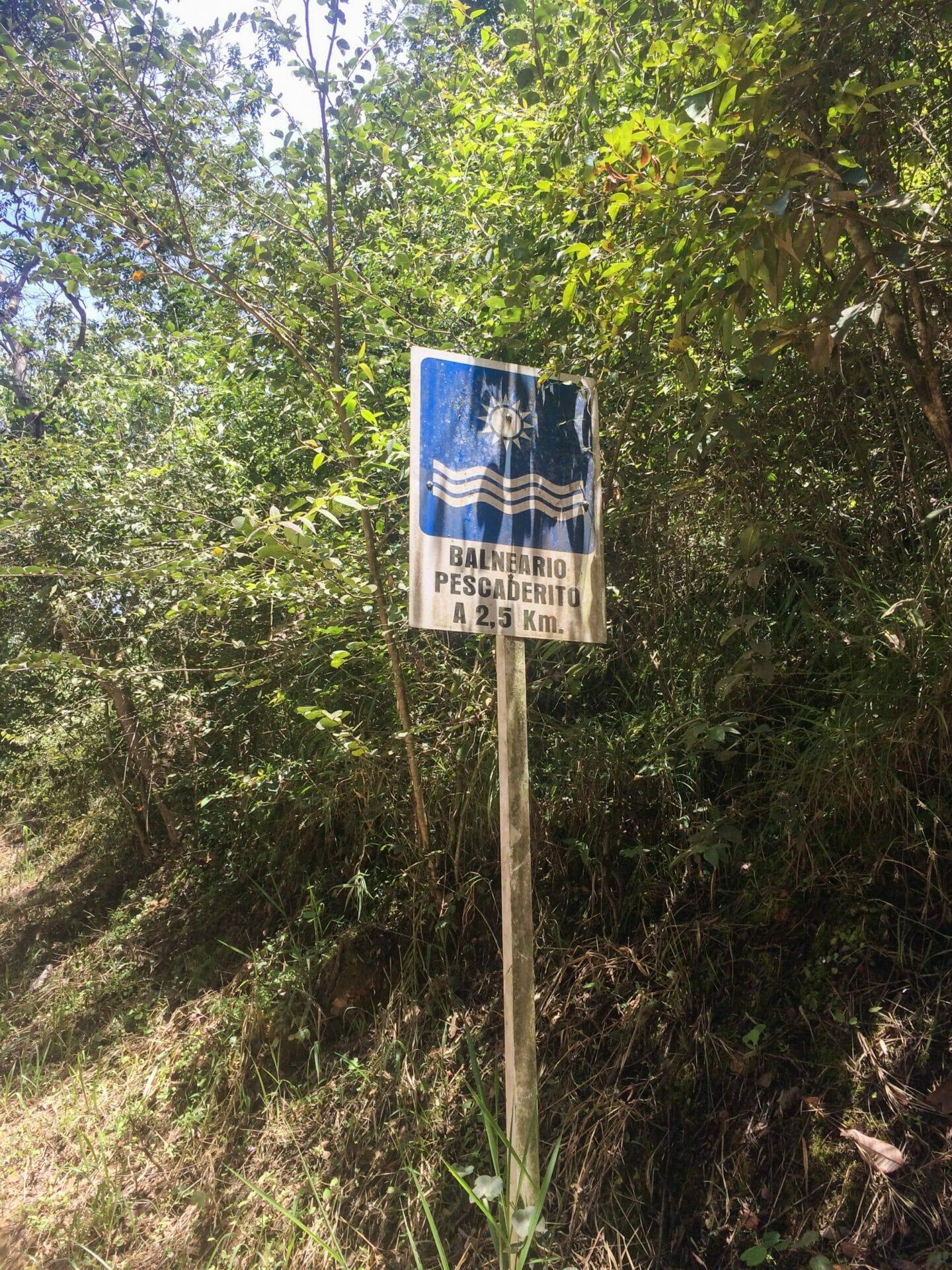 Sign for Pescadarito near San Gil Colombia