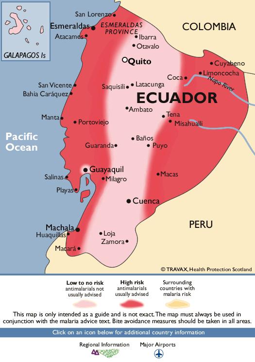 Map of Ecuador showing areas of malaria risk