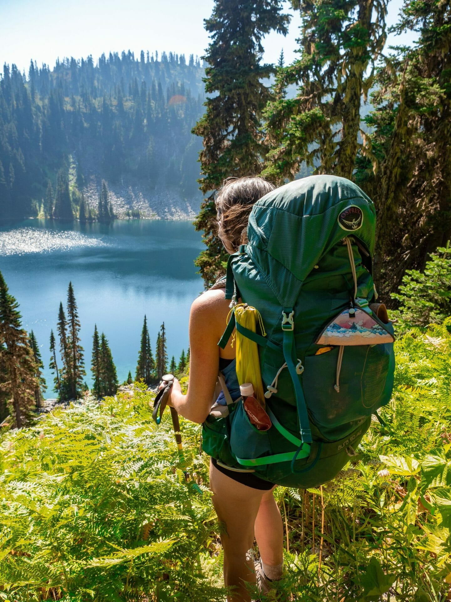 Girl hiking Josephine Lake Alpine Lakes Wilderness