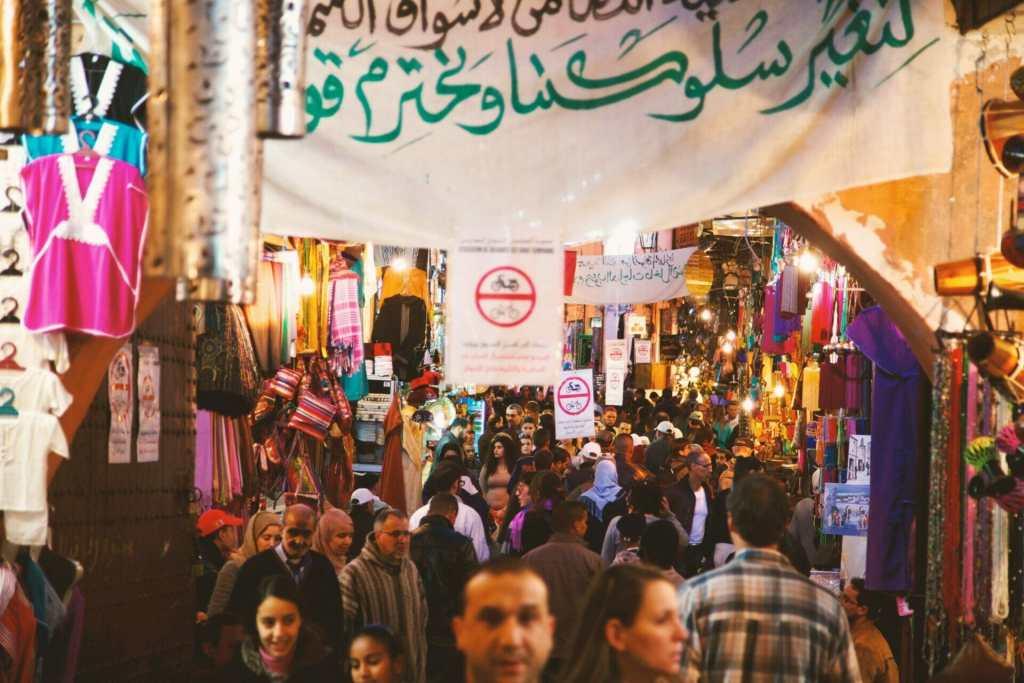 Busy souks in Marrakech Morocco