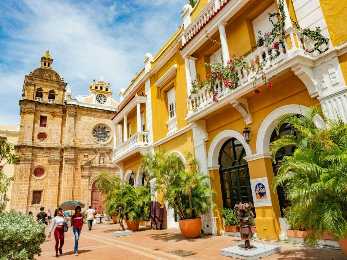 Bright yellow buildings Cartagena walled city Colombia