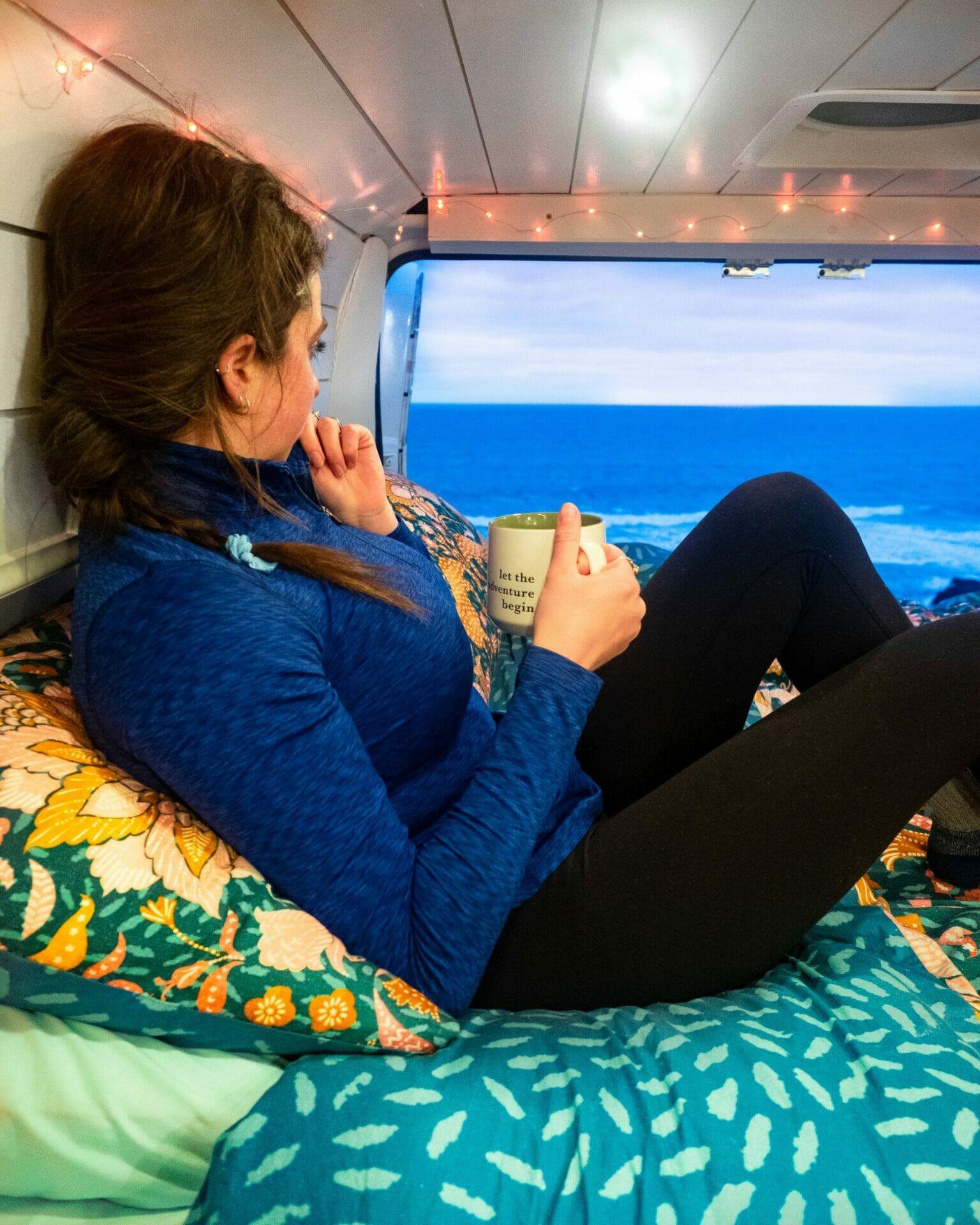 Vanlife Promaster converted van beach camping
