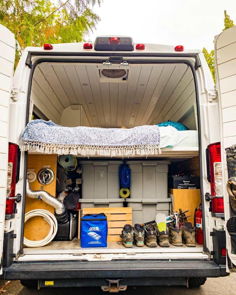 Vanlife packed garage