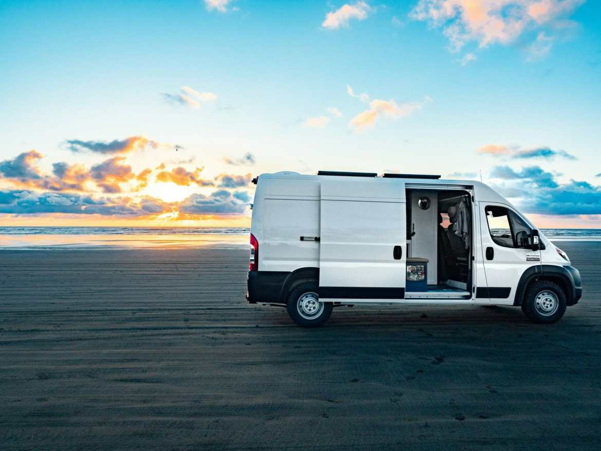 Vanlife Promaster converted van Long Beach Washington Coast