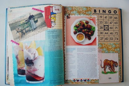 recipe scrapbook collage book vintage ephemera art brooke gibbons bingo cards postcards