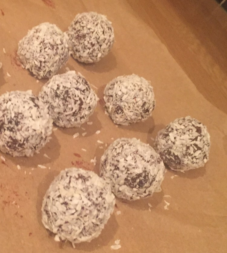 homemade coconut chocolate truffles