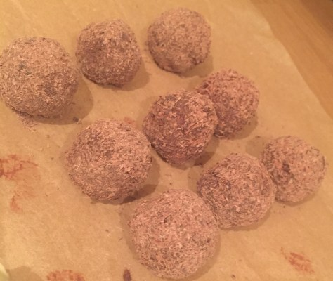 grated chocolate covered truffles