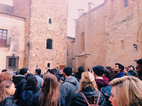 tour of caceres with the erasmus group