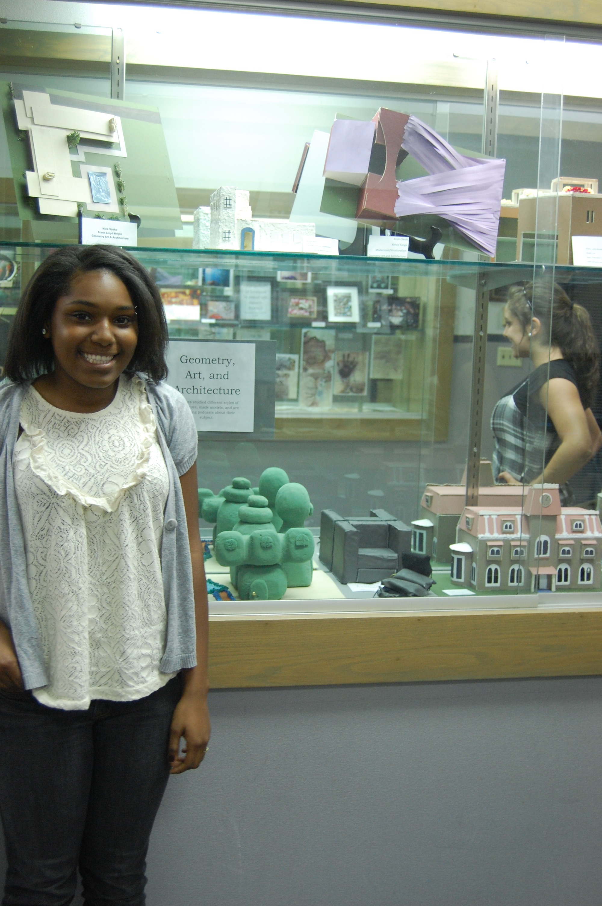 All of our models were shown in a case at our school during the student art show.